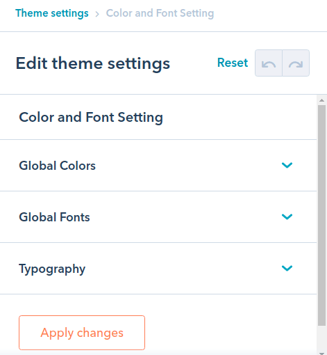 Color And Font Settings : hubspot theme
