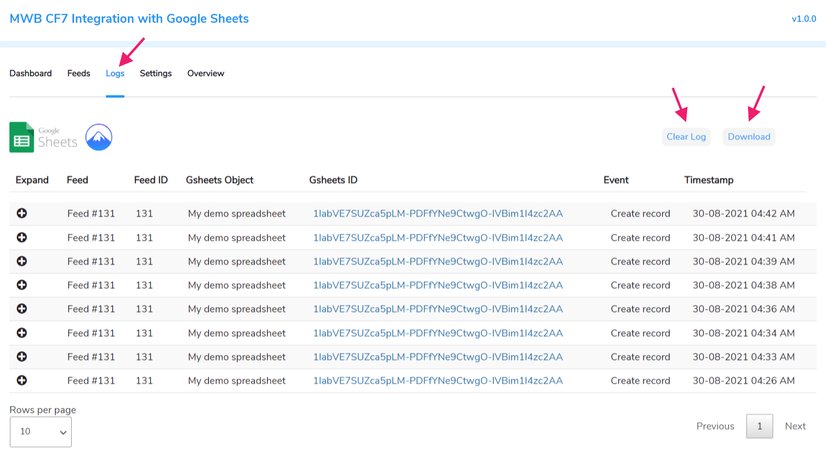 cf7 integration with google sheet