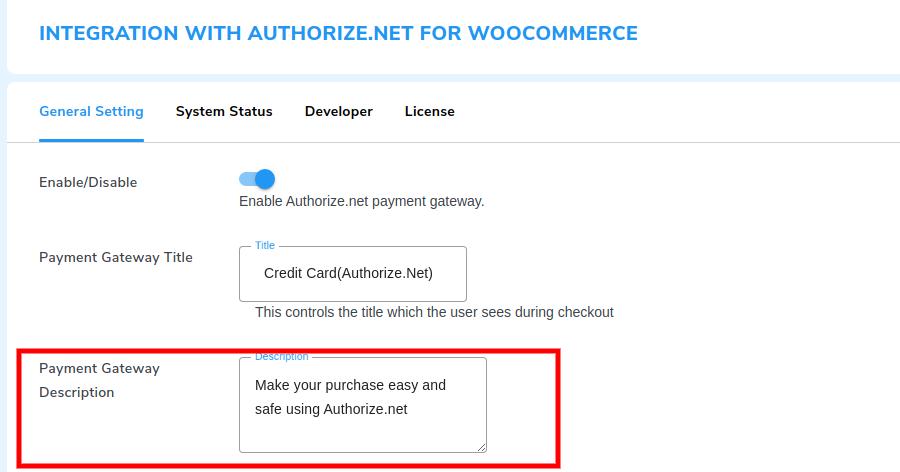 payment description