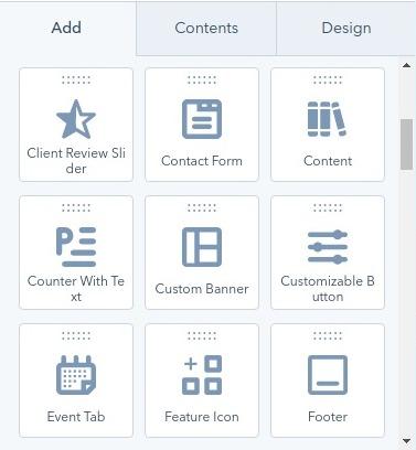 add/ content / design module - hubspot theme