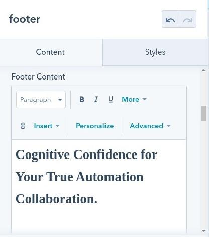 footer content : hubspot theme