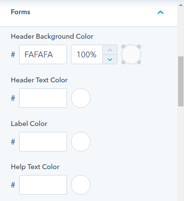 Forms Option, : hubspot theme