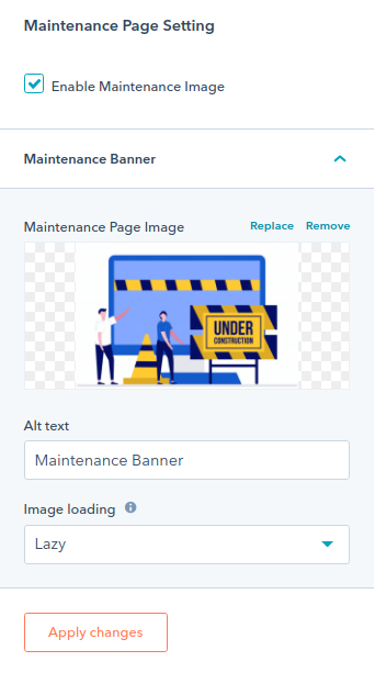 maintance page section : hubspot theme
