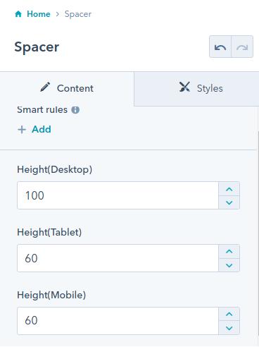 Spacer module : HubSpot theme