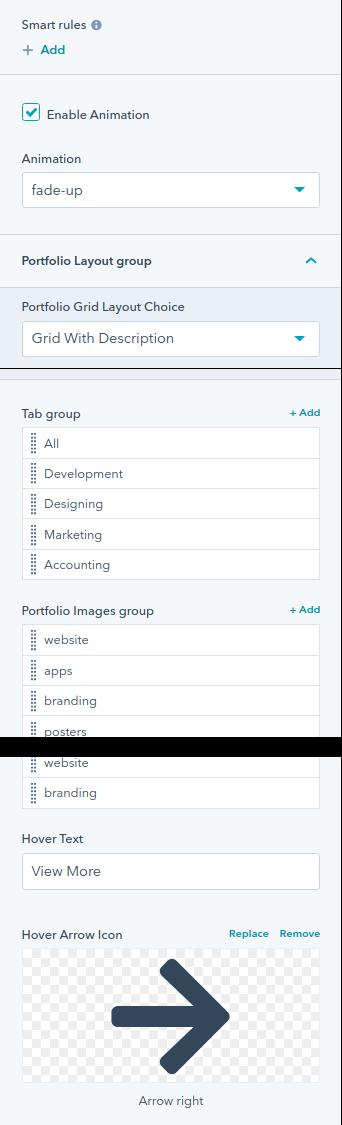 Portfolio Tabs module : HubSpot theme