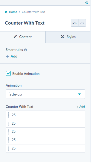 The Counter With Text module