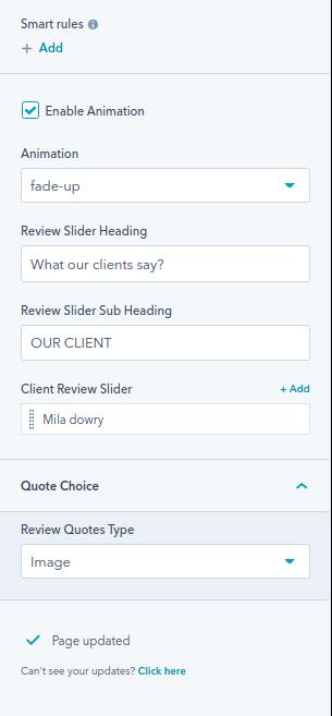 Client Review Slider module
