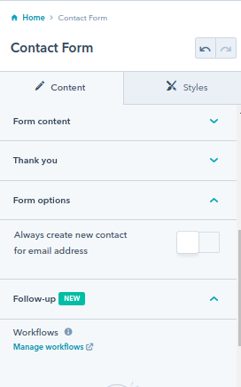 contact form : hubspot theme