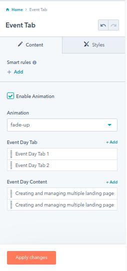 event tab : hubspot theme