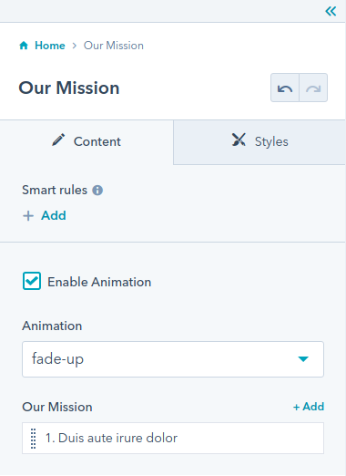 Our mission module : hubspot theme
