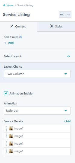 Service Listing module : hubspot theme