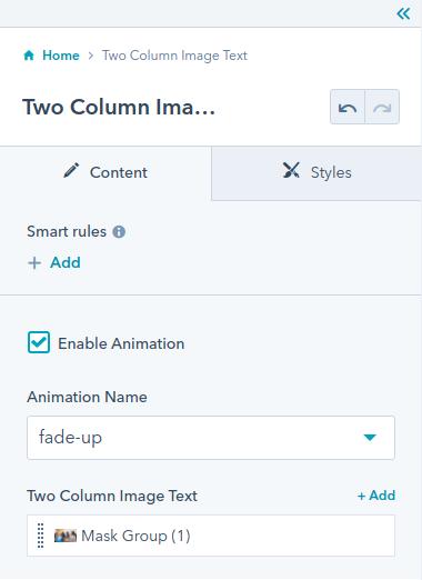 Two Column Image Text module : Hubspot theme