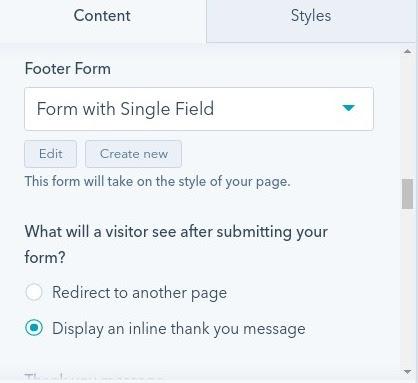Footer Form : hubspot theme