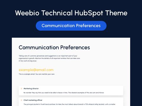 Communication Preferences Page