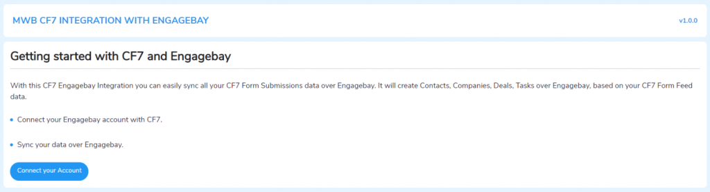 MWB CF7 Integration with Engagebay